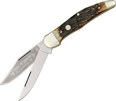 Boker Hunter Stag Handle - Boker Hunter Folding Knife Carbon Steel Blade Contoured Genuine Stag Handle