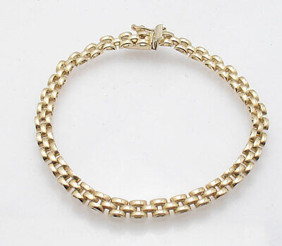 Three Row Panther Link Bracelet Necklace Chain or Set Real 14K Yellow Gold