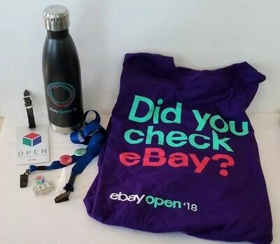 EBay Open 2016 & 18 Lot 2X  T-Shirt  Luggage Tag Pins Water Bottle eBayana
