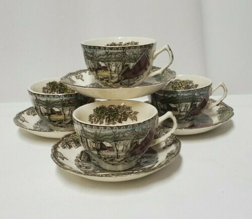 Vtg Johnson Bros Friendly Village (4) Coffee/Tea Cup and Saucer The Ice House