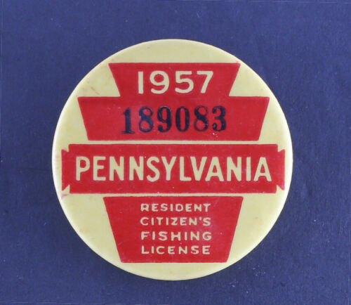 Vintage 1957 Pennsylvania Fishing License - EX+
