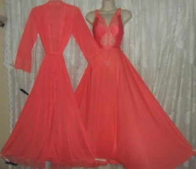VTG RARE CORAL OLGA Peignoir Robe FULL Swp BODYSILK Nightgown Negligee Gown S M