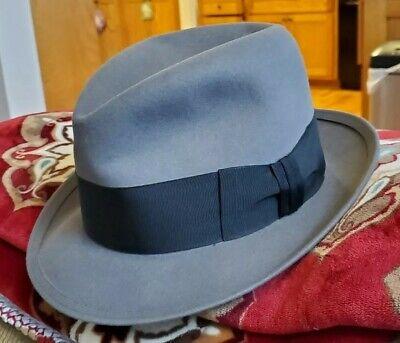 1950s Mens Hats | 50s Vintage Men's Hats 1950s Stetson gray fedora 7 1/8 stitched brim edge $65.00 AT vintagedancer.com