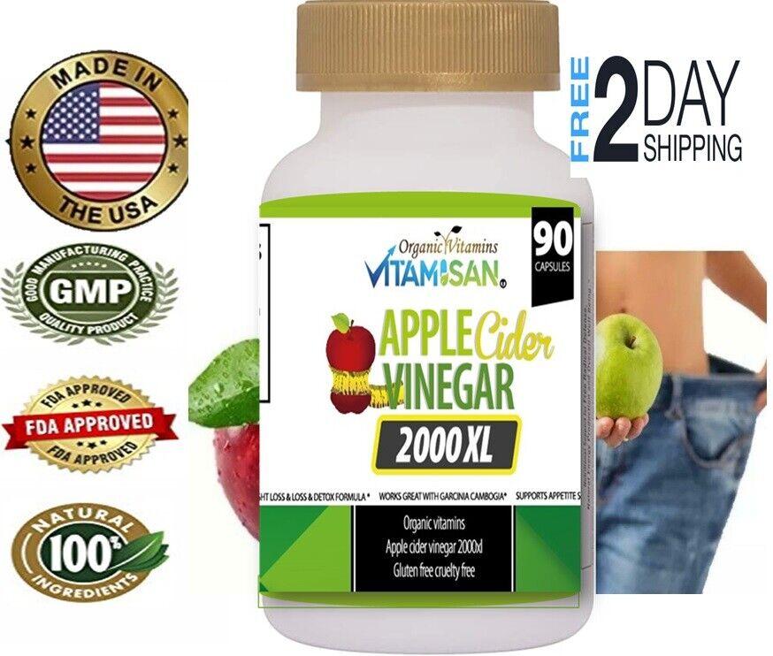 Apple Cider Vinegar Capsules Extra Strength Weight Fat Loss organic Diet vinagre