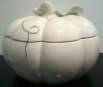 "Lenox White Pumpkin Cookie Jar 8.25"" Diameter Ceramic Halloween New in Box"