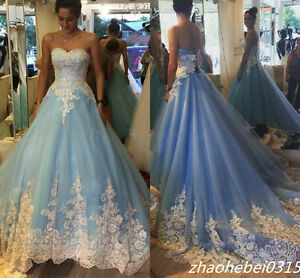 2017 Blue Cinderella Wedding Dresses Princess Appliques Bridal Gowns Custom Made