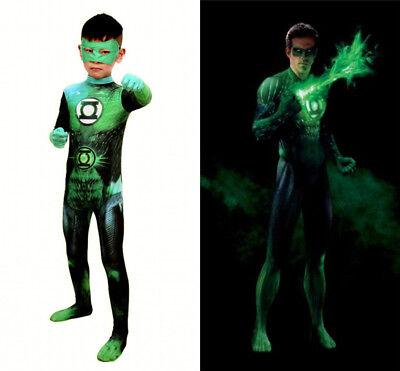 Green Lantern John Jumpsuit Cosplay Costume Halloween Zentai Suit for Adult/Kids