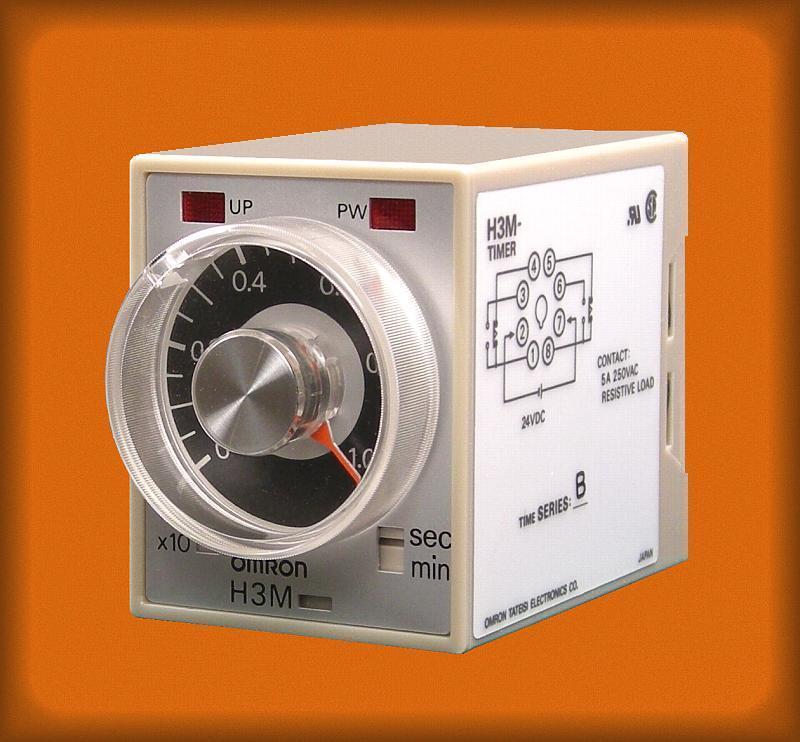 Omron H3M knob adjustable timer 4 range 24vdc 0.1 sec to 10 min octal 1/16 DIN