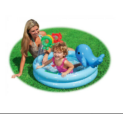 Dolphin Inflatable Pool with Colorful Rings for Babies and Toddlers Intex ()