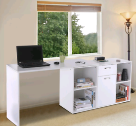 Large White L-Shaped Straight Corner Computer Desk Shelves Home Office