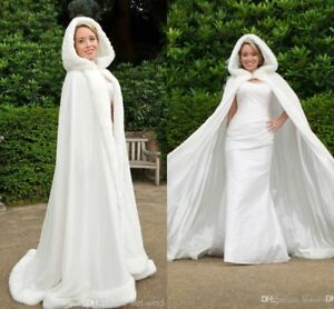 White Hooded Long Wedding Cape Cloak Maxi With Fur Trim -New