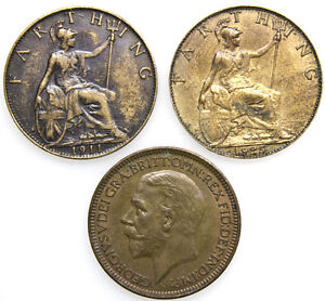 GEORGE V COINS : Penny Half-Penny or Farthing 1911 - 1936 : FREE UK POST