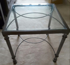 2 Glass & Metal end tables  (set)