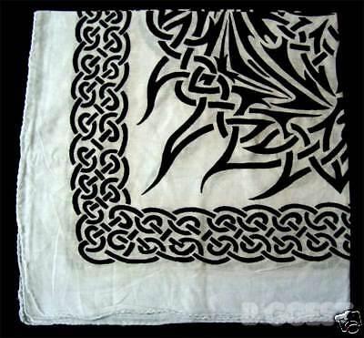 "Funky Celtic Tribal Large Bandanna Bandana Emo Skate Goth 24"" x 24"" Cotton"