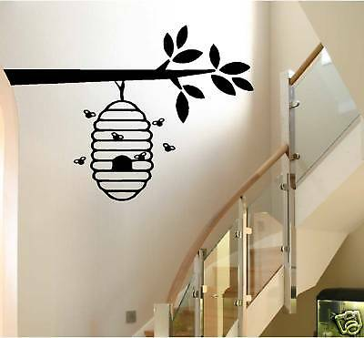 BEEHIVE ON A BRANCH wall decal home decor LARGE (Beehive Decor)