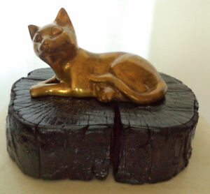 Cat Lovers, Brass Cat Laying Down on a Display base - $15