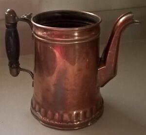 Antique Vintage Copper Coffee Pot Wood Handle Rochester