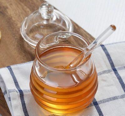 Honey Dipper (250ml  Borosilicate Glass Honey Pot Clear Jam Jar Set with Dipper Lid fr Kitchen )