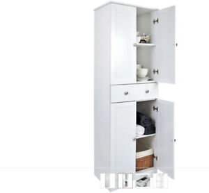 White pantry cabinet, organizer with drawer and shelves