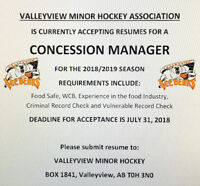 Valleyview Minor Hockey Association seeking a CONCESSION MANAGER