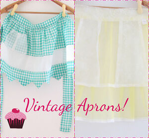 2 Vintage Aprons - Gingham $10 & Yellow Sheer $15 (never used)