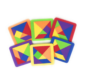 Lot of 20 Foam Tangram Puzzles with Puzzle Idea Sheet