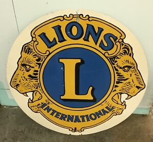 Vintage Metal Lions Club Sign