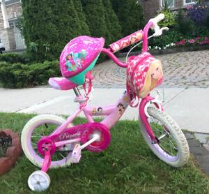 "Disney Princess Kids Bike-14"" with a high-tensile steel frame"
