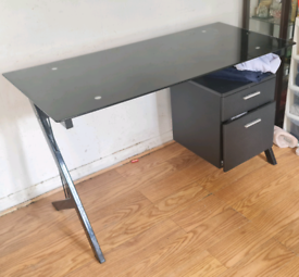 Table desk glass very good condition with drawers home furniture