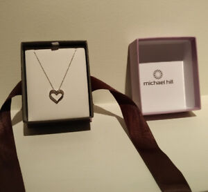 Michael Hill Heart Pendant with Diamonds in 10kt White Gold