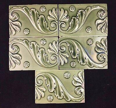 "Set of 5 Antique Green Majolica Art Nouveau Neo Classical 6"" x 4"" Tiles Minton"