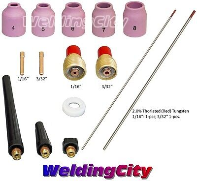 Tig Welding Torch 920 Kit Gas Lens-tungsten Red 116-332 T50a Us Seller