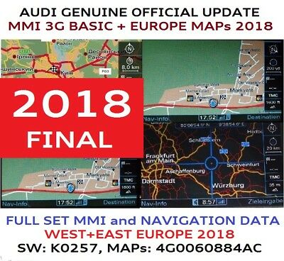 AUDI A4 A5 A6 MMI 3G UPDATE  FULL MAPs MMI 3G BASIC 2018 FINAL 4G0060884AC