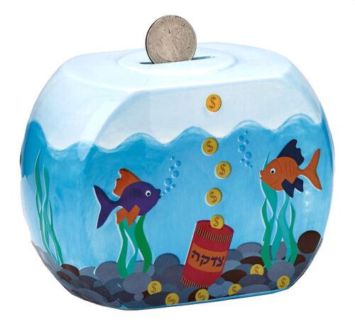 Goldfish Bowl Ceramic Tzedakah Box - Jewish Judaica Charity