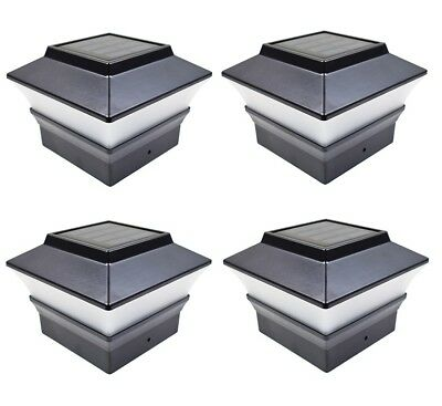 4 Black 4 x 4 Solar Post Deck Cap Fence Light PVC Vinyl or Plastic Post 244BX4 ()