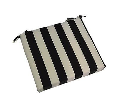 Cushion Black Stripe (Outdoor Black White Stripe Patio Universal Foam Chair Cushion, Choose Size )