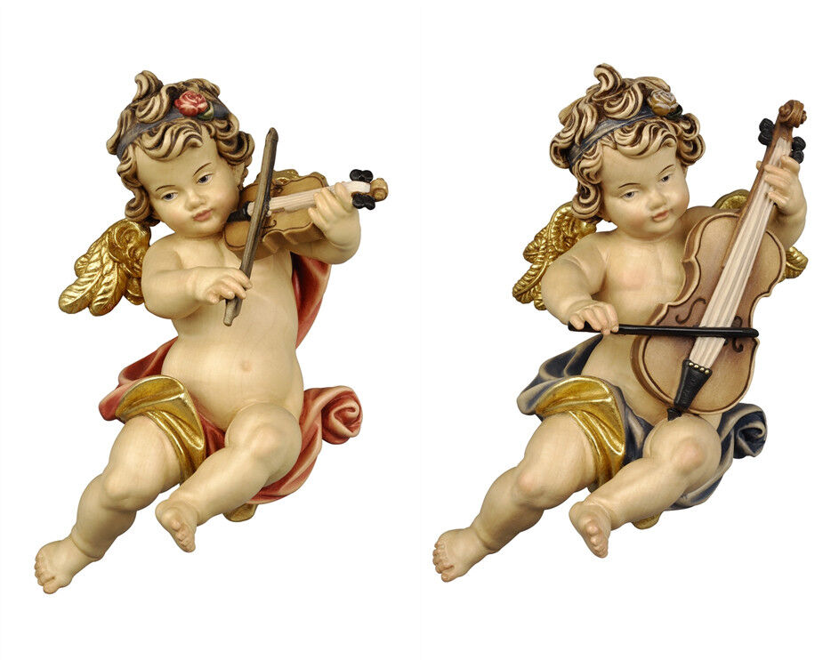 Putti 2 Angels V V Players From Wall In Wood