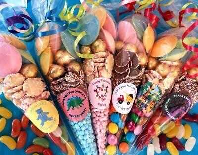 - Personalised Vegetarian Sweet Cone party bags for kids parties,Eid Diwali treats