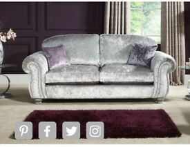 4 seater crushed velvet sofa, love chair, foot stool 600 ONO