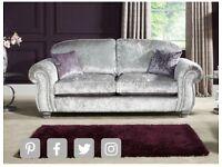 4 seater crushed velvet sofa, love chair & stool £1000 ONO