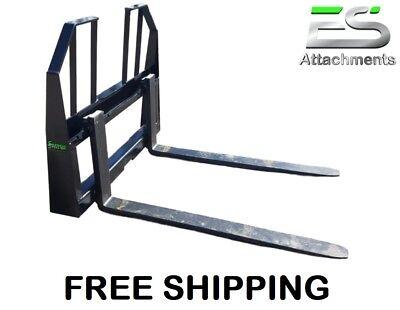 48 Walk Thru Pallet Forks Skid Steer Quick Attach- Free Shipping