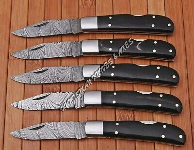 LOT Of 5 HAND MADE 7 1/2 '' Liner Lock FOLDINGS Of Damascus Blade & HORN Handle