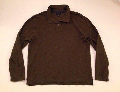 Banana Republic Men's Size XXL Long Sleeve Three Button Mock Neck Shirt, Green
