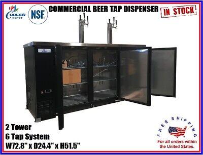Commercial Beer Kegerator 2 Tower 6 Tap Dispenser Back Bar Refrigerator Keg Nsf
