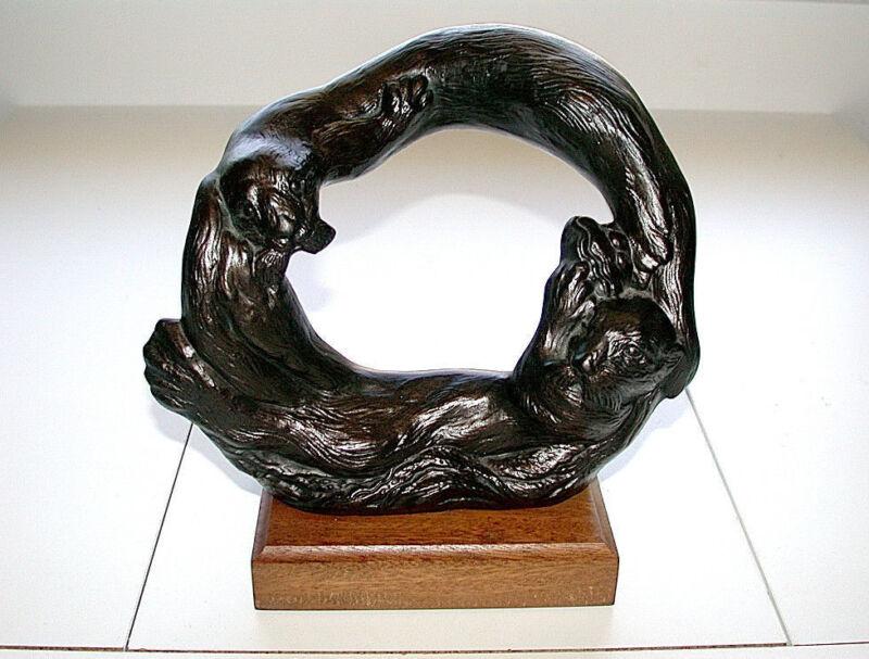 Beautiful Vintage Otters Pair Sculpture Figurine On Wood Base