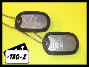2-Military-Dog-Tags-Custom-Embossed-Stainless-GI-Identification-w-Silencers