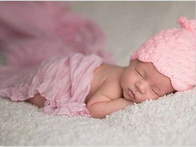 Baby Fotoshooting Kostüm 2tlg. Wrap Wickeltuch & Knoten Mütze Newborn Fotografie