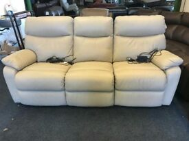 DFS Cream Leather Electric Recliners Sofa - Free Delivery In Southampton