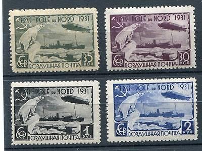 RUSSIA YR 1931,SC C30-33,MI 402A-05A,MNH,ZEPPELIN,POLAR BEAR,NORTH POLE