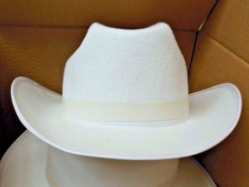 NEW/box 4 DOZEN Dance COSTUME White Felt Cowboy Hats  Large Size adult hat